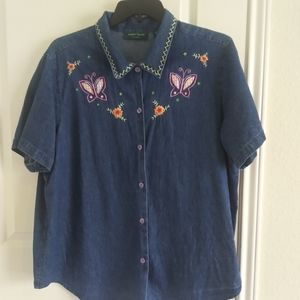 LEMON GRASS women blouse size 2X slim mescloth blu